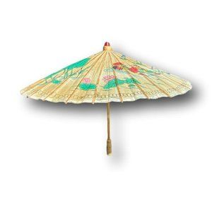 Antique Chinoiserie Chic Lilly Pad & Lotus Hand Painted Paper Umbrella / Parasol